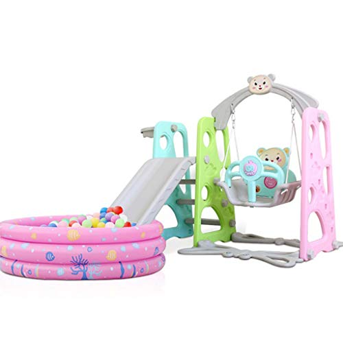 Swing and Slide Set for Kids, 4 in 1 toddler Climb with Basketball Hoops and Colorful Music Ocean Ball Pool, Multifunctional Toys for 1-4 Years Old Small Child, Indoor and Outdoor Activity (Pink)
