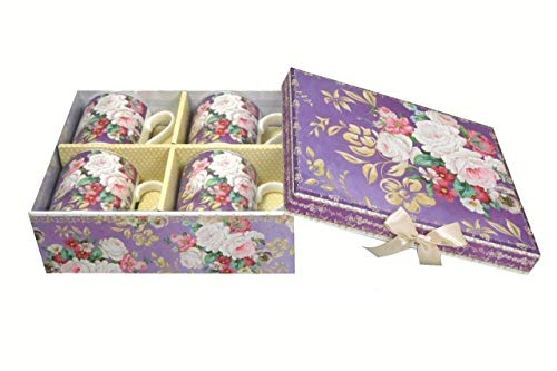Lightahead Elegant Bone China Coffee Tea Mug set of 4 in Beautiful Roses Design 8.5 oz each cup in attractive gift box