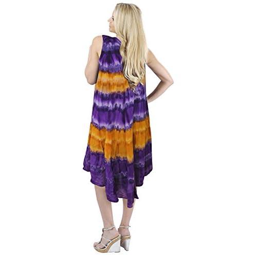a78d9757ec lovely La Leela de un tamaño más vestido de playa encubrimiento cuello  redondo empate ari tinte