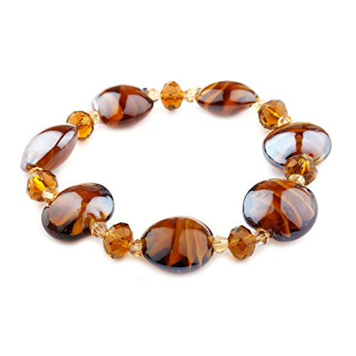 Luna Collection Amber Murano Glass and Crystals Bracelet - Amber Murano Glass Crystal