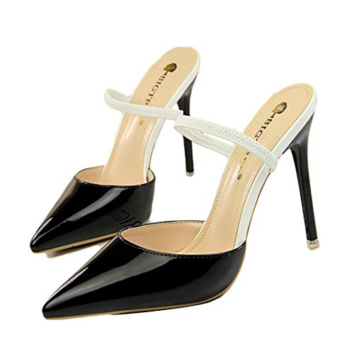 (Drew Toby Women Pumps Fashion Simple Patent Leather Shallow Mouth Pointed-Toe Slippers)