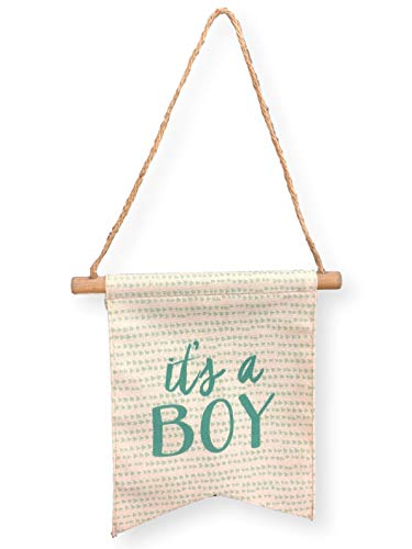 Tag Its a Boy Baby Canvas Banner Blue Lettering Nursery Wall Hanging Baby Shower Supplies Decorations Favors For ()