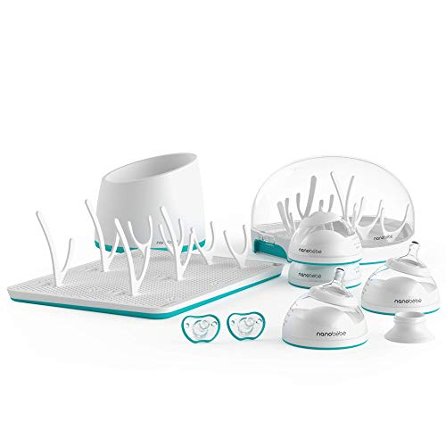 nanobébé Newborn Breastfeeding Bottles & Sterilization Kit – Anti Colic Baby Bottle Starter Set with Warming Bowl, Steam Sterilizer, Drying Rack, & Pacifiers – Top Registry Gift Set