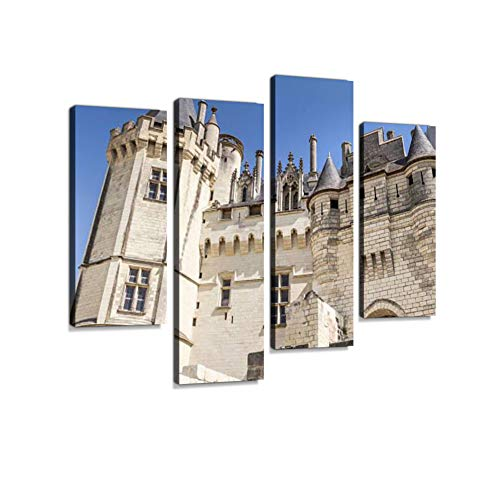 (Saumur Castle - Loire Valley (France) Canvas Wall Art Hanging Paintings Modern Artwork Abstract Picture Prints Home Decoration Gift Unique Designed Framed 4 Panel)
