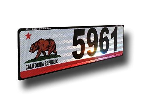 California Flag, Curb, Mailbox, House Address Plaque, Reflective