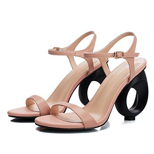 NVXIE en Ankle Compensées Cuir Chaussures Strappy Sandales de Pink Mariée Mariage Peep Femmes Strap Toe Noir Ouvert rHnvgr1x