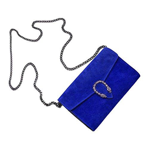 Spalla Tracola Catena Rachel Liscia myitalianbag Pelle Italy Blu Camoscio Pochette E Cobalto Accessori A Metallo In Made Borsa xwR4R1nXCq