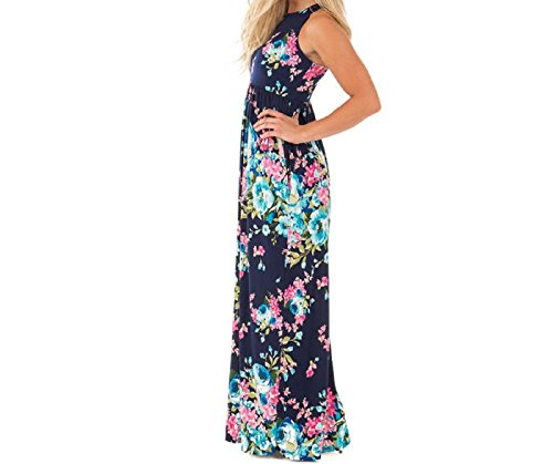 Lucky Star Women's Floral Print Round Neck Sleeveless Long Maxi Casual Dress (Blue, (Ladies Lucky Stars)