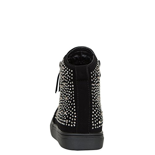 Forever Womens Round Toe Jeweled Rhinestone Fashion Sneaker Shoes Ankle Booties Boot Black 6QwnYfoRG