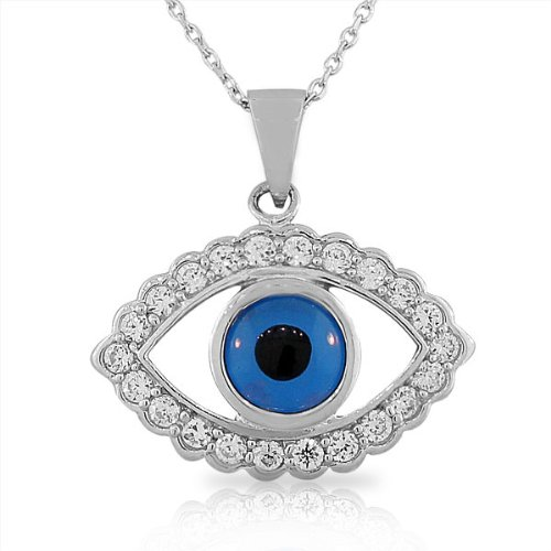 925 Sterling Silver Large Blue White CZ Womens Evil Eye Hamsa Pendant (Large Hamsa Necklace)