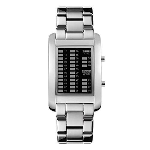 Mens Binary Matrix Digital Watch Led Technological Sense Waterproof Watch Stainless Steel Band Wrist Watches   Silver