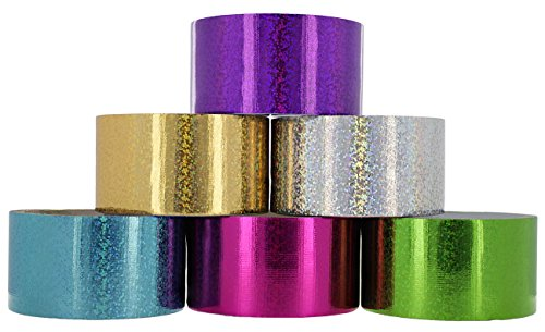 (RAM-PRO Holographic Heavy-Duty Duct Tape | Assorted Fluorescent Colors Pack of 6 Rolls, 1.88-inch x 5 Yard - Colors Included: Purple, Silver, Green, Pink, Blue &)