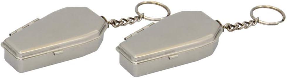 BESPORTBLE 2pcs Portable Ashtray Coffin Shape Metal Keychains Outdoor Cigarettes Ashtray Pocket Ashtray Key Rings Modern Easily Bringing Ashtray