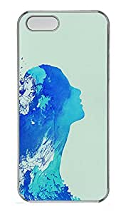 iPhone 5 5S Case Blue Girl Outline PC Custom iPhone 5 5S Case Cover Transparent