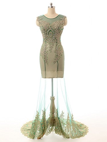 Long Dress Gowns Womens Annies Green Dress Evening Sleeveless Bridal Prom Party Beaded vfqwn8Z5q