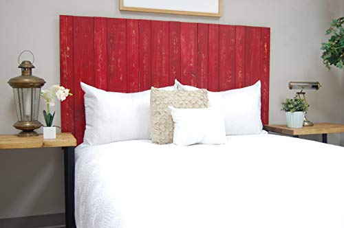 (Red Headboard Queen Size Weathered, Hanger Style, Handcrafted. Mounts on Wall. Easy Installation)