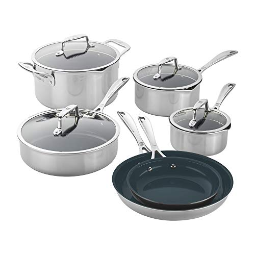 ZWILLING Clad CFX 10-pc Stainless Steel Ceramic Nonstick Cookware Set