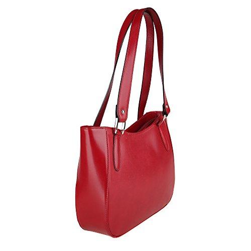 Italie en bandoulière cuir véritable Fabriqué femme en Chicca Cm Rouge 34x23x10 Sac Borse à nqUZHwx6Av