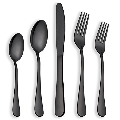 Berglander Flatware Set Shiny Black Gold, 20 Piece Black Flatware, 20 Piece Black Titanium Flatware, 20 Piece Black Gold Plated Stainless Steel Silverware Set Cutlery Sets, Service for 4(Shiny Black) ()