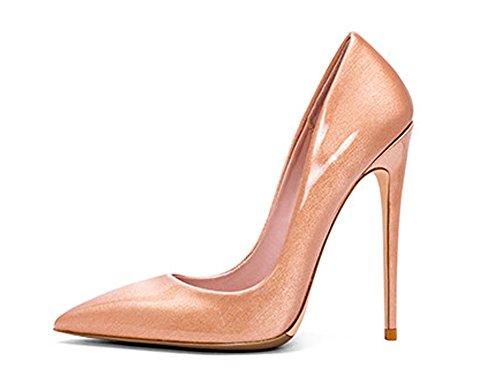 Guoar Womens Puntige Hoge Hakken Pumps Schoenen Voor Feest Banket Schoenen Maat 5-12 Ons Goud Metaal Helder