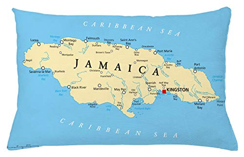 """Ambesonne Jamaican Throw Pillow Cushion Cover, Map of Jamaica Kingston Caribbean Sea Important Locations in Country, Decorative Rectangle Accent Pillow Case, 26"""" X 16"""", Blue Beige"""