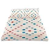 KEEPDIY Scrabble Vintage Gameboard Bedding Set (Twin) Velvet Cover Sets 1 Comforter Cover 2 Pillow Shams for Kids Home,Boys Girls