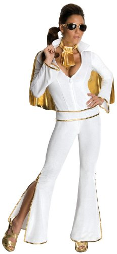 Secret Wishes Women's Sexy Female Elvis Costume, White, Medium