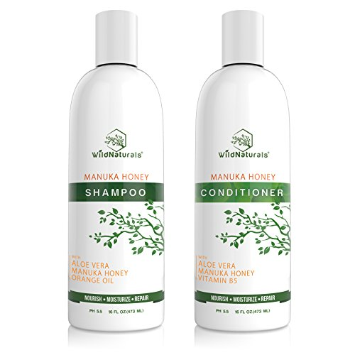 (Wild Naturals Sulfate Free Shampoo : Conditioner Set, With Manuka Honey + Aloe Vera, For Hair Loss, Thinning Hair and Itchy Dry Scalp. Anti Dandruff, Moisturizing, 98% Natural, 80% Organic Plant-Based)