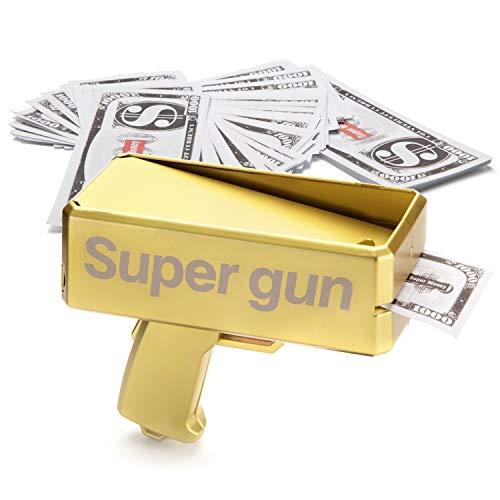 Alagoo Super Money Guns Paper Playing Spary Money Gun Make it Rain Toy Gun, Handheld Cash Gun Fake Bill Dispenser Money Shooter with 100 Pcs Play Money(Metallic Gold) by Alagoo (Image #2)
