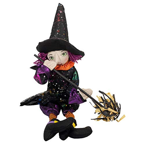 (Delton Gifts Purple Haired Witch and Broomstick x 7 Inch Halloween Dangle Leg Shelf Sitter)