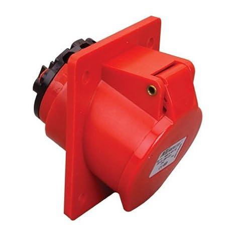 5-polig 400V Kraftsteckdose CEE-Einbausteckdose IP44 32A rot CEE Steckdose