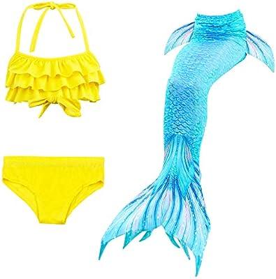 Kids Girls 3Pcs Mermaid Tail Swimming Bikini Set Swimwear Swimmable Costumes
