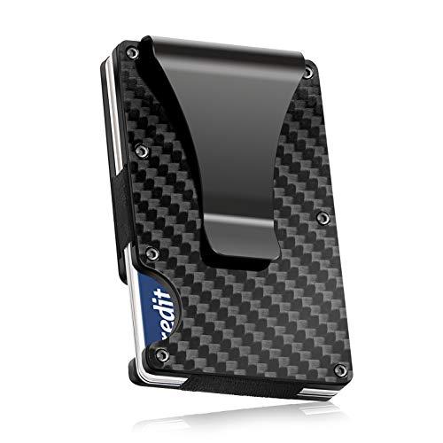 Carbon Fibre Wallet, Slim Money Clip & Minimalist RFID Blocking Front Packet Slim Wallet, Aluminum Metal Wallet & Business...