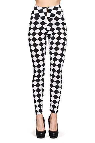 Limit 33 Juniors Teens Graphic Print Legging Geometric Design Black White Diamond Size M (Juniors White Graphic)