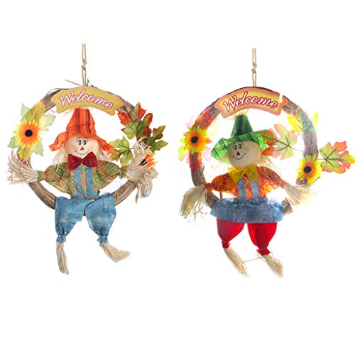 IFOYO Scarecrow Wreath, 2 Pack Large Hanging Scarecrows for Happy Halloween Decorations Thanksgiving Decor Autumn Fall Harvest Decoration for Home, Front Door, Indoor Wall, (L, 14.6x17.8in / 37x45cm)