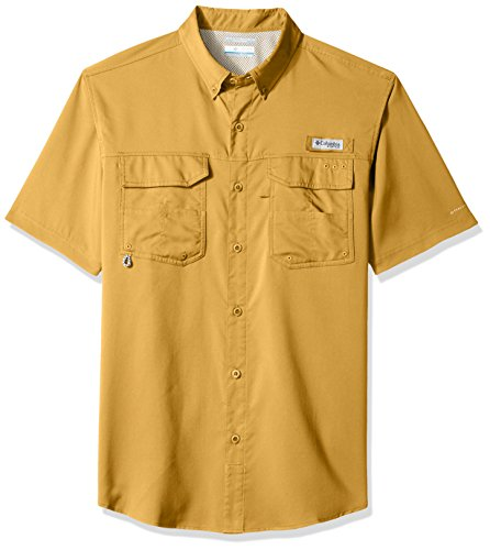 Columbia Men's Blood and Guts III Shorts Sleeve Woven Shirt, Dark Banana, Large