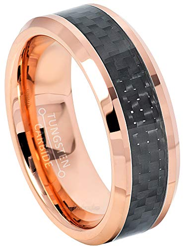 (Jewelry Avalanche 8mm Beveled Edge Tungsten Wedding Band, Polished Rose Gold Plated Comfort Fit Tungsten Carbide Ring w/Black Carbon Fiber Inlay -)
