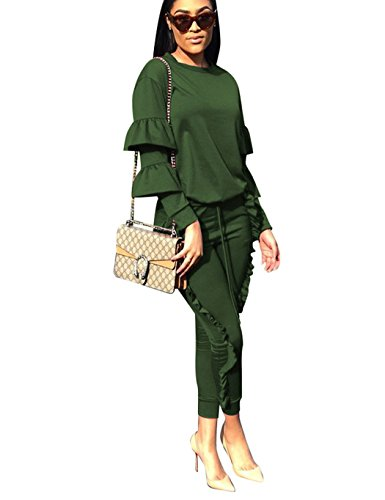 Women 2 Pieces Outfits Puff Sleeve Top and Long Ruffle Pants Sweatsuits Set Tracksuits Green XXX-Large
