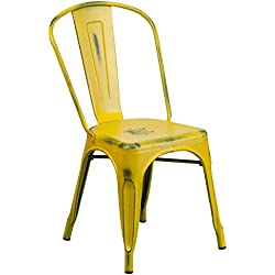 Flash Furniture Distressed Yellow Metal Indoor-Outdoor Stackable Chair