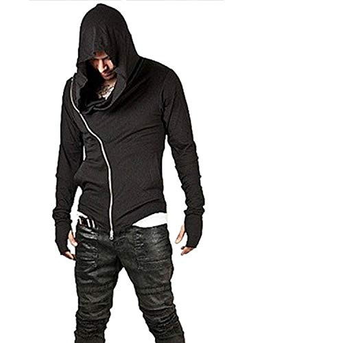 Rising ON Assassins Creed Hoodies Men Hoodies Hop Streetwear Zipper Sweatshirt Tracksuit Men Hood,Black,M -