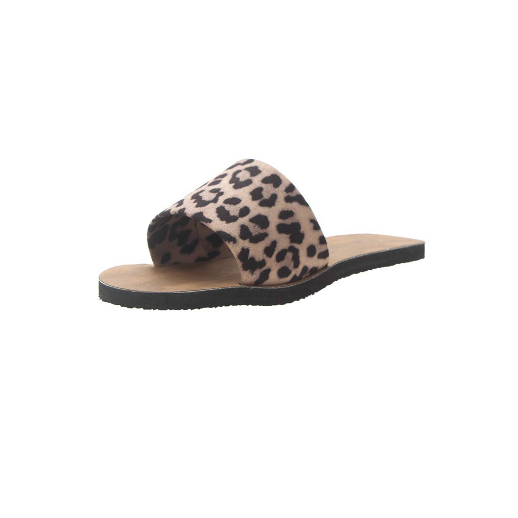 Staron Slippers For Women Summer Leopard Flat-Bottomed Slippers Summer Shoes Beach Shoes