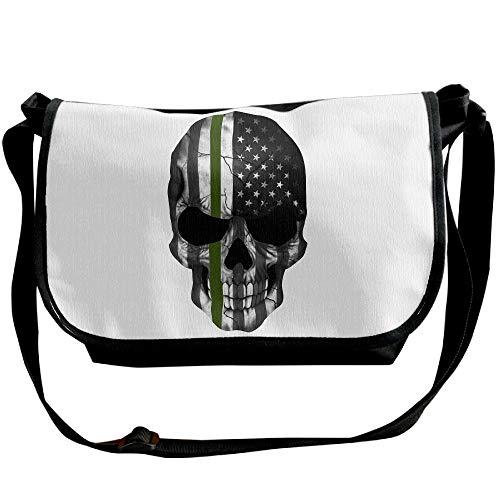 Travel Sling Handbag Men's Thin Green Satchel American Flag Black Bags Line Bag Fashion Skull 8wPq84S