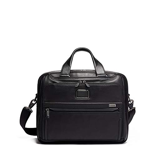 TUMI - Alpha 3 Organizer Leather Laptop Brief Briefcase - 15 Inch Computer Bag for Men and Women - Black