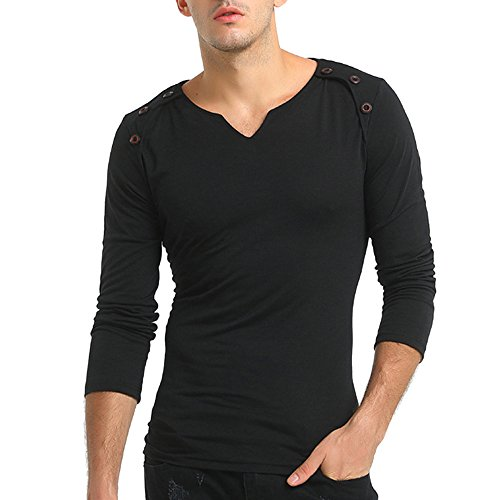 Abercrombie Jean Shorts - Birdfly Men's Basic Long-Sleeved Button Slim Fit Solid Color T-Shirt Tops Plus Size 2L 3L (XL, Black)