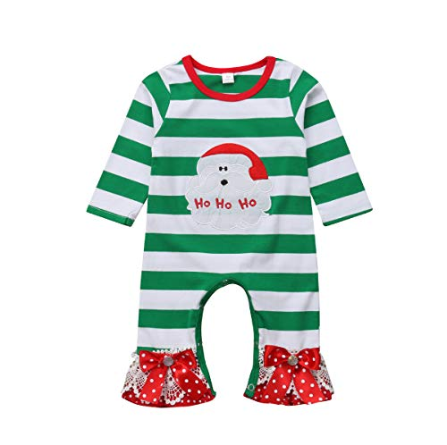 citgeett Christmas Infant Newborn Baby Girls Striped Santa Romper Jumpsuit Bowknot Sleepwear Pajamas Suit -