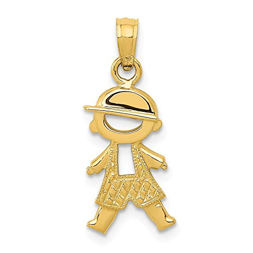 14k Yellow Gold Textured Boy Pendant Charm Necklace Kid Fine Jewelry Gifts For Women For Her