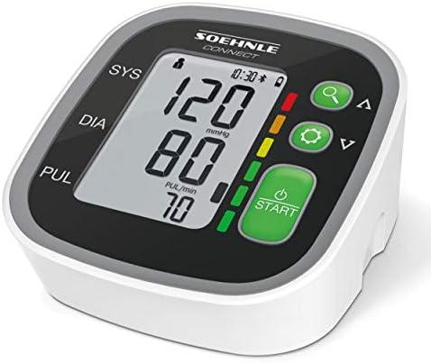 Soehnle Oberarm Blutdruckmessgerät Systo Monitor Connect 300 mit Bluetooth® und App-Anbindung, Blutdruckmesser mit Bewegungssensor, Blutdruck Messgerät, inkl. Batterien