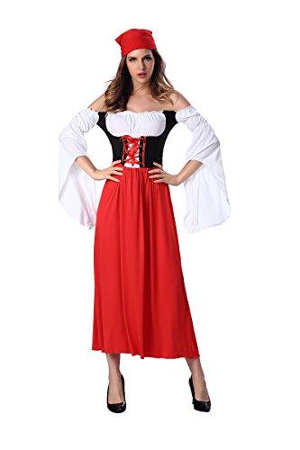 Dantiya Women's Oktoberfest Maid Dress Female Pirate Halloween Game Costume Red (M) ()