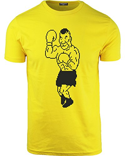 (Mens Iron Mike Punch Out Parody T Shirt Boxing Ts Gamer Tee (Yellow, XL))