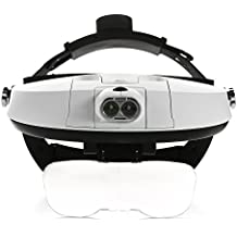 Jasonwell Head Mount Magnifier with Detachable LED Head Light and 5 Replaceable and Interchangeable Lenses: 1.0X, 1.5X, 2.0X, 2.5X, 3.5X—Magnification Headset Glasses with Light